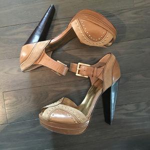 Michael Kors Tan Studded Ankle Strap Block Heels